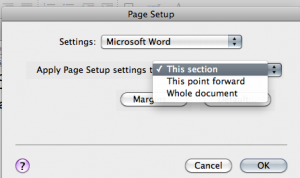 "Putting a landscape page into a portrait document: use ""This Section"" when prompted in the page setup"