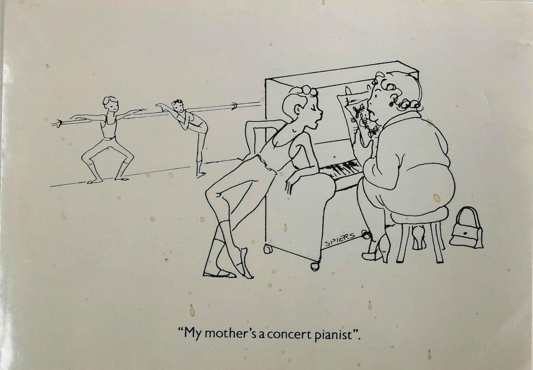 Cartoon by Marlene Spiers of a ballet pianist
